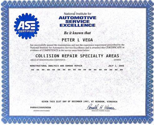 Dent Free Image Autobody Certification