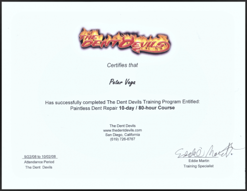 Dent Free Image PDR Certificate