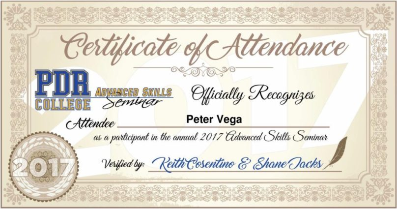 PDR College Certificate